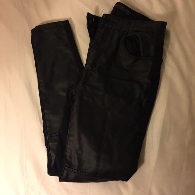 BLACK FAUX LEATHER DYNAMITE PANTS