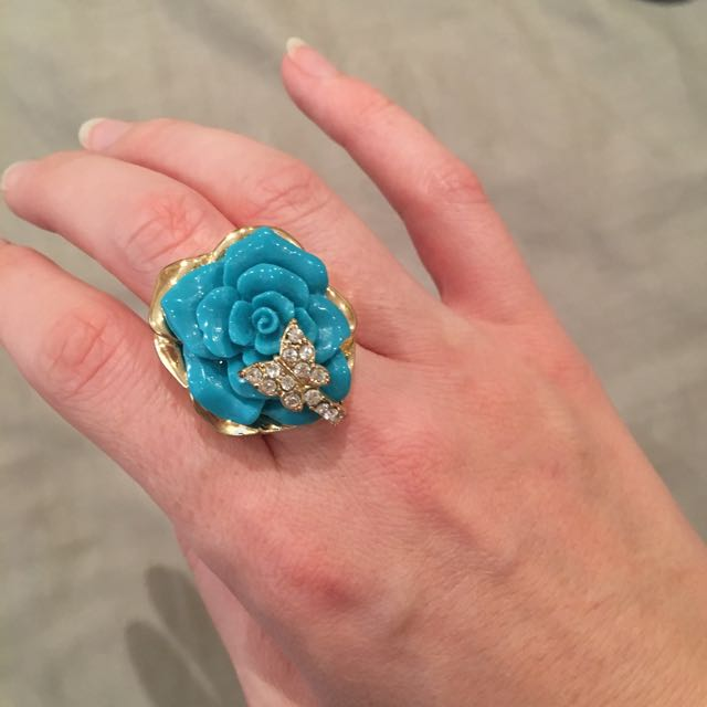 Blue Rose Ring With Butterfly