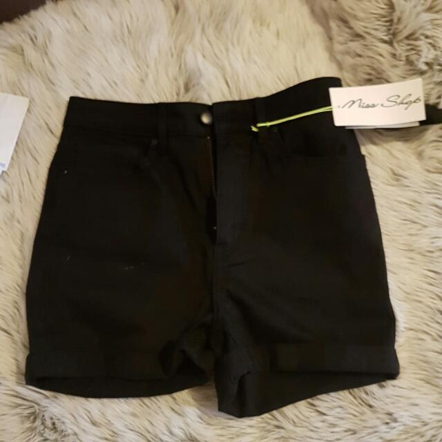 Brand New Miss Shop High Wasted Black Demin Shorts
