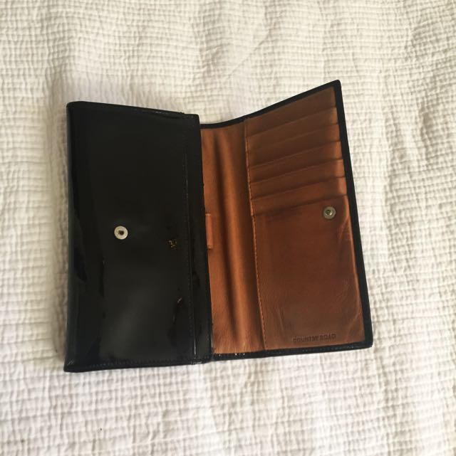 Country Road Patent Leather Black Wallet With Tan Inside