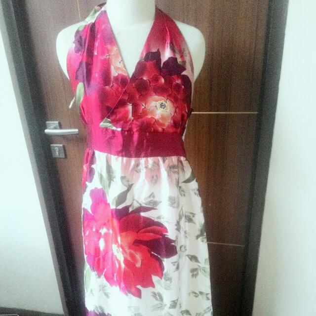 DRESS  Party FLOWER SILK  BUNGA SUTRA Panjang Pesta