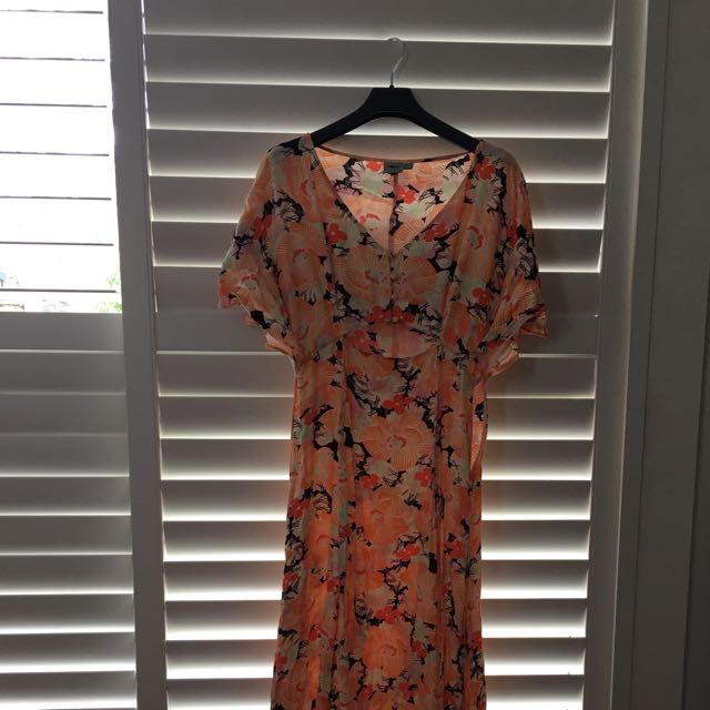Floral Japanese Pattern Maxi Dress