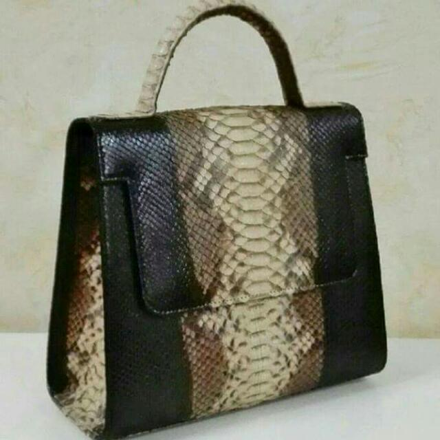 Genuine Python Skin Leather Flap Bag In Matte Finish