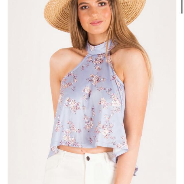 High neck floral top