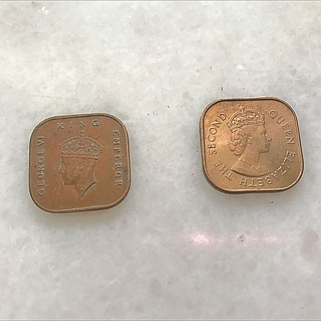 King George And Queen Elizabeth Old Singapore Coin (1 Cent