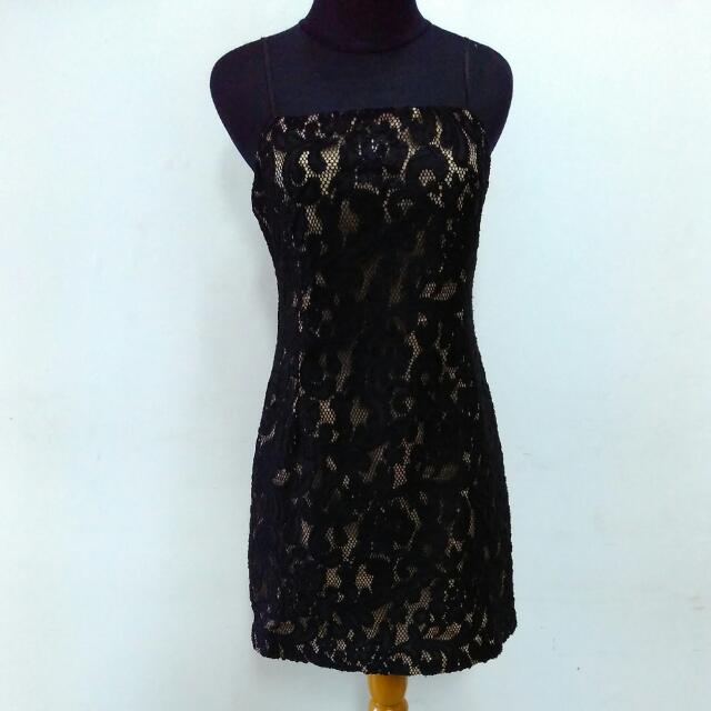 Mini Dress Black Brokat