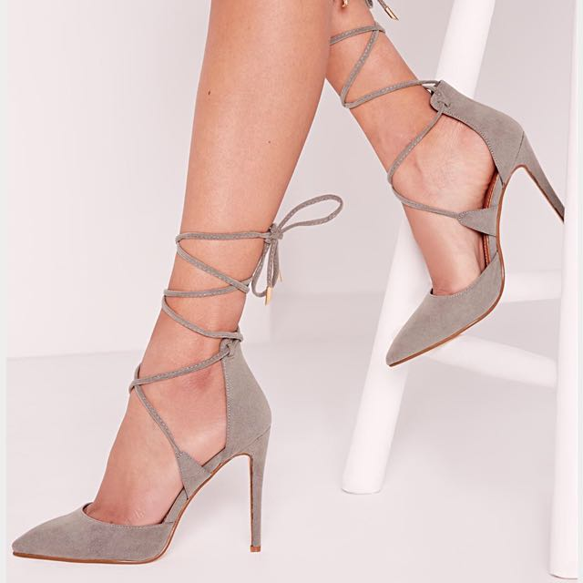 MISGUIDED LACE UP COURT SHOE GREY SIZE 7