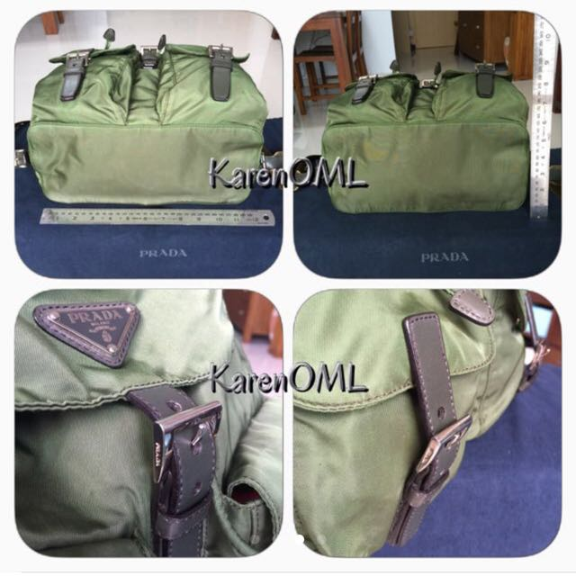 Prada Nylon & Saffiano Leather Backpack - Militare (Army Green)