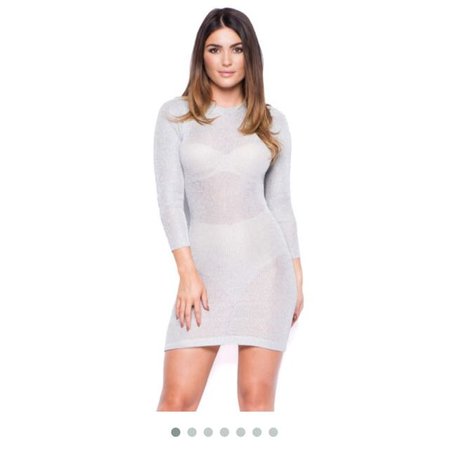 Oh Polly Silver Knit See Through Dress