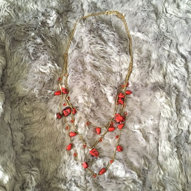 Red And Black Rock Necklace