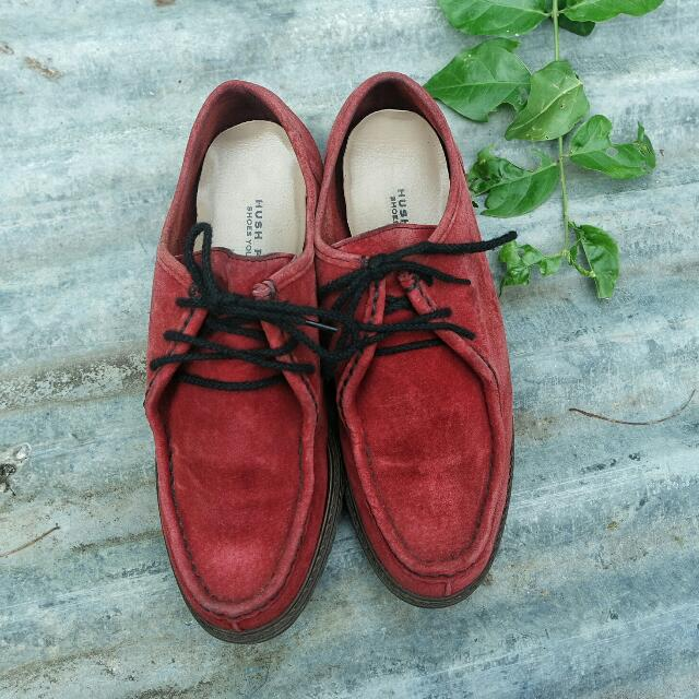 Red Oxford Leather Shoes Hush Puppies