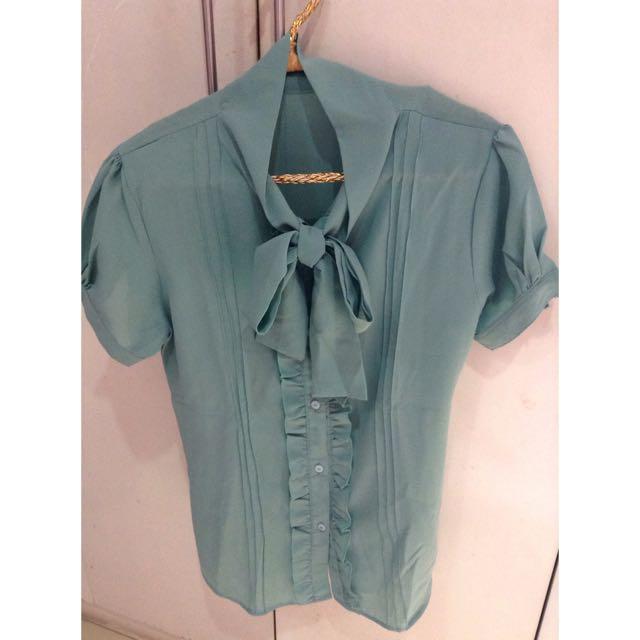 Turquoise Chiffon Top