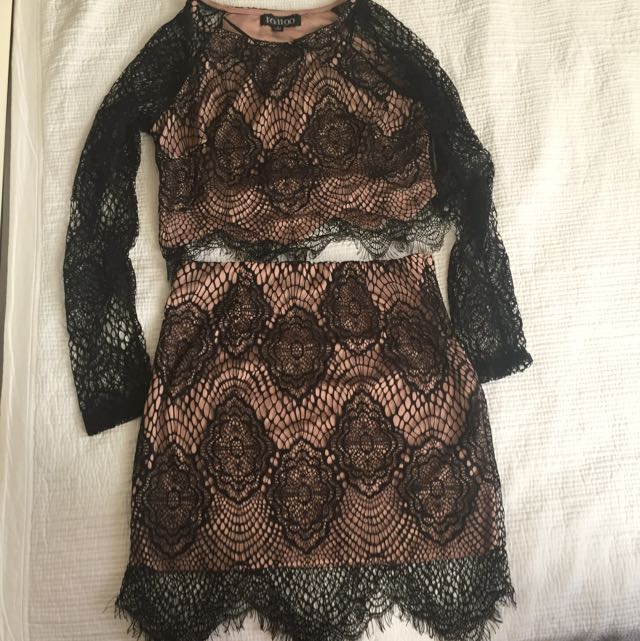 Two Piece Black Lace And Underlay High Waist Skirt & Top