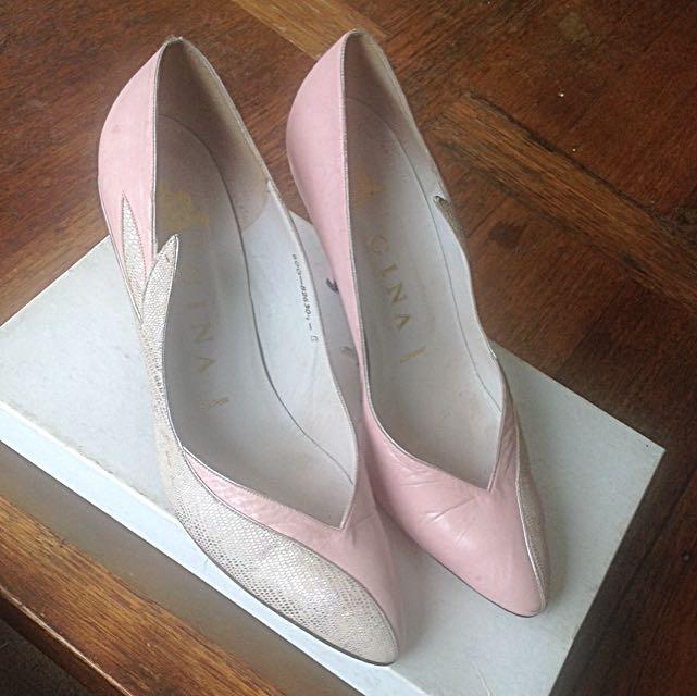 Vintage GINA London Pink Leather And Silver Snakeskin Heels Size Uk6