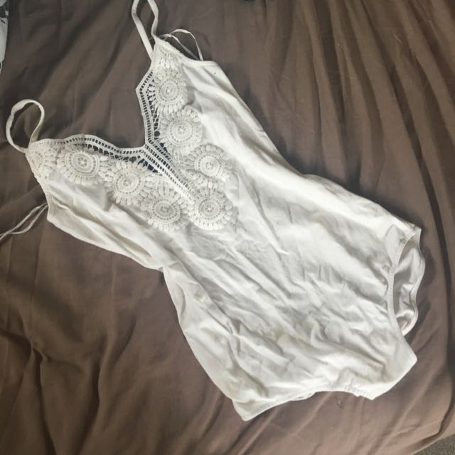 White ICE Lace Leotard: Size S.