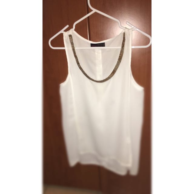 White Silk Singlet Top With Gold On Collar