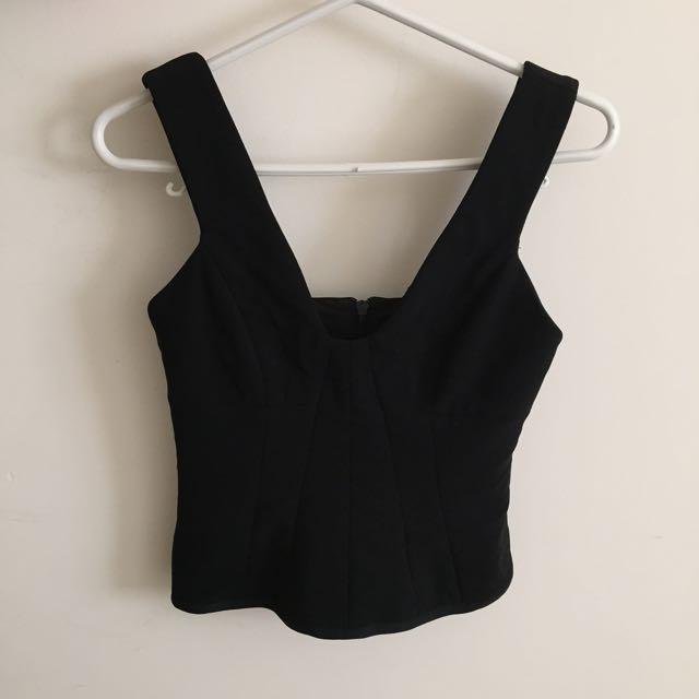 White Suede Black Dress Top