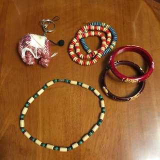 項鍊+手環+大象吊飾