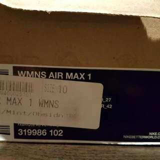Nike Airmax 1s - Ladies 10 (Mens 9)