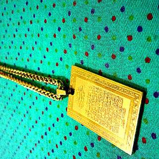 Brand NEW 18k Gold Stamped Fake Gold CHAIN With a Quran pendant
