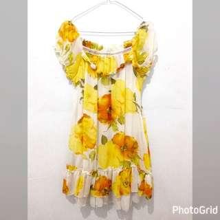 Floral Chiffon Dress - White