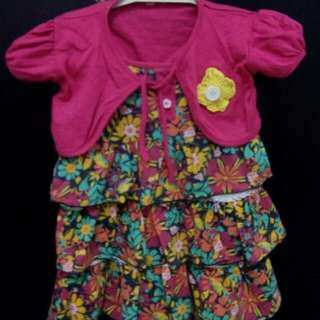 setelan dress pink flower