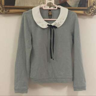 Blue Grey Long Sleeve Top