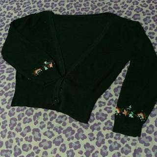 Cute Floral Black 3/4 Cover Up (soft Knit)