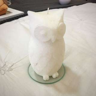 Dusk Owl Candle - White