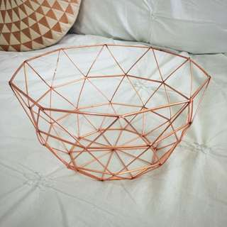 Copper Round Fruit Bowl - Triangular Motif