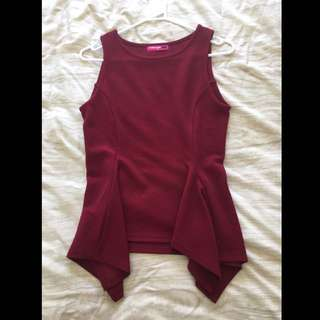 Valley Girl Top Size M Burgundy