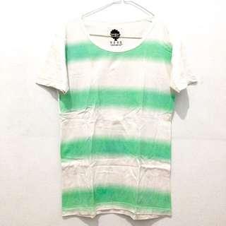 Origin Tee - White & Green Stripe