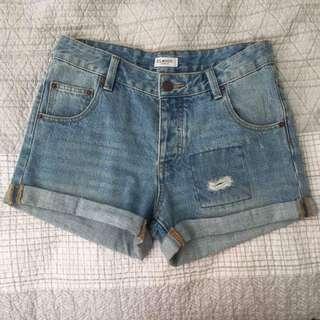 Blue Mid Rise Denim El Wood Shorts