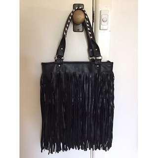 Large black fringed bag