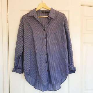 Blue & White Striped Stellino Shirt
