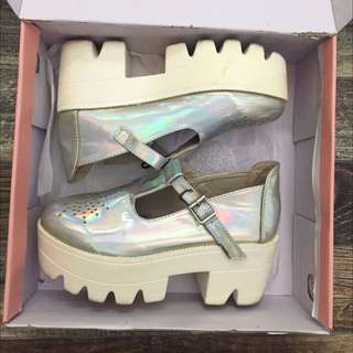 Size 6 Holographic Platform Shoes
