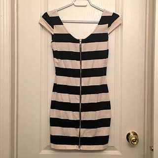 H&M Zipper Front Striped Dress