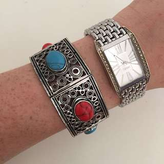 Silver Bracelet With Stone Detail