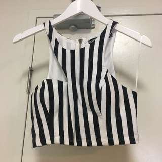 Sz 12 Heart On Fire Black And White Stripe Cutout Neck Crop Top
