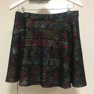 Sz 12 Ally A Line Black Mesh Overlay Skirt With Multi Colour Pattern Underneath