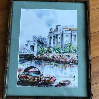 Singapore Boat Quay Painting