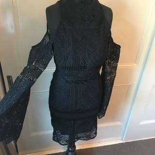 Black Lace Open Back Dress