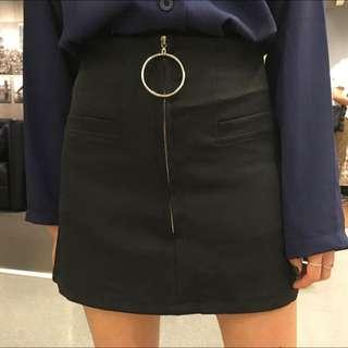 b0488497ad #351 tumblr basic minimalistic ring circle zip aline skirt