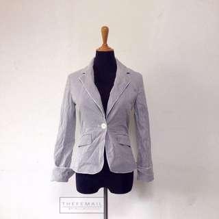 White Stripes Blue Smart Blazer