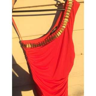 Lumier Red Silk Dress