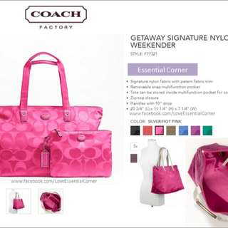 Authentic Coach Getaway Signature Nylon Packable Weekender