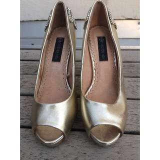 Forever New Gold Jewelled Heels