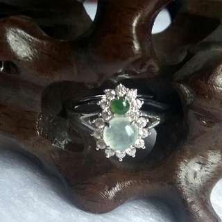 💰Grade A Icy (冰种) Green and White Cabochons Prosperity Eight  (發發發發) Jadeite Ring💰
