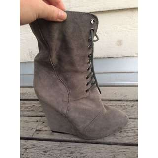 Grey Suede Lace Up Boot Heels