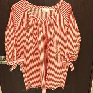 正韓 紅白條紋襯衫材質上衣
